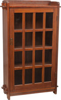 Furniture : American, An L & JG Stickley Onondaga Shops Glazed Bookcase. 55-3/8 h x30 w x 12 d inches (140.7 x 76.2 x 30.5 cm). ... (Total: 2 Items)