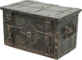 Decorative Arts, Continental:Other , A German Baroque Cast Iron Strongbox, early 18th century. 13 h x22-3/4 w x 13-3/4 d inches (33.0 x 57.8 x 34.9 cm). PROPE...(Total: 2 Items)
