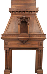 A Monumental Renaissance Revival Carved Walnut Fireplace Mantel and Hood, late 19th century 124 h x 73 w x 30 d in