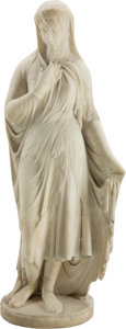 Fine Art - Sculpture, European:Antique (Pre 1900), Giovanni Maria Benzoni (Italian, 1809-1873). The VeiledRebekah, 1863. Marble. 40 inches (101.6 cm) high. Inscribed and...