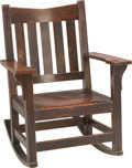 Furniture , A Gustav Stickley Arts & Crafts Oak and Leather Rocking Chair, early 20th century. 34 h x 25-3/4 w x 28-1/4 d inches (86.4 x...