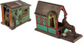 Antiques:Toys, Mechanical Bank: Cabin & Mule Entering Barn.... (Total: 2 Items)