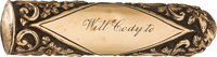 """William F. """"Buffalo Bill"""" Cody: An Important Early 1873 Presentation Cane, with Signed Transmittal Note"""