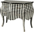 Furniture : Continental, A Black and White Tiled Commode in the Louis XV Taste. 37-7/8 h x 40 w x 20 d inches (96.2 x 101.6 x 50.8 cm). ...