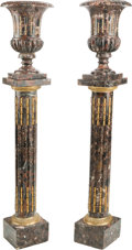 Furniture , A Pair of Variegated Marble and Gilt Bronze-Mounted Urns with Matching Pedestals. 46-1/2 h x 9-3/4 w x 9-3/4 d inches (118.1... (Total: 4 Items)