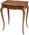 Furniture , A Louis XVI-Style Burled Wood, Mahogany, Walnut, and Gilt Bronze Side Table. 27-1/4 h x 23 w x 15-1/2 d inches (69.2 x 58.4 ...