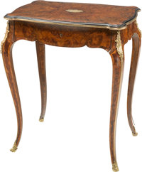 A Louis XVI-Style Burled Wood, Mahogany, Walnut, and Gilt Bronze Side Table 27-1/4 h x 23 w x 15-1/2 d inches (69