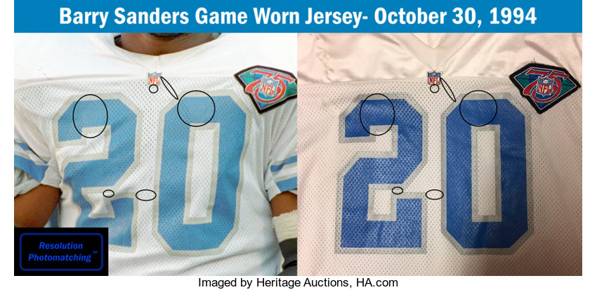 aeef9ba8d 1994 Barry Sanders Game Worn Detroit Lions Jersey with Multiple   Lot  #82266   Heritage Auctions