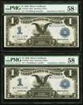 Large Size:Silver Certificates, Two Consecutive Fr. 236m* $1 1899 Mule Silver Certificates PMG Choice About Unc 58-58 EPQ.. ... (Total: 2 notes)