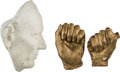 Political:3D & Other Display (pre-1896), Abraham Lincoln: Leonard Volk Plaster Life Mask and Hands.... (Total: 3 Items)