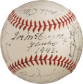 Baseball Collectibles:Balls, 1943 New York Yankees Team Signed Baseball....
