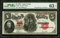 "Large Size:Legal Tender Notes, Fr. 92* $5 1907 ""PCBLIC"" Error Legal Tender PMG Choice Uncirculated63 EPQ.. ..."