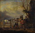 Paintings, Circle of PHILIPS WOUWERMAN (Dutch 1619-1668). A Hunting Party Departing from an Inn. Oil on beveled oak panel. 10-5/8 x...