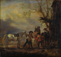 Circle of PHILIPS WOUWERMAN (Dutch 1619-1668) A Hunting Party Departing from an Inn Oil on beveled o