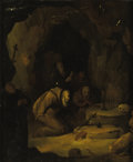 Fine Art - Painting, European:Antique  (Pre 1900), Circle of GERRIT DOU (Dutch 1613-1675). St. Francis and Hermitsin Prayer, circa 1700. Oil on beveled oak panel. 11-1/2 ...