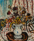 Fine Art - Painting, American, Sacha Moldovan (American, 1901-1982). Flowers, 1957. Oil oncanvas laid on board. 22 x 18 inches (55.9 x 45.7 cm). Signe...