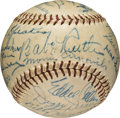 Baseball Collectibles:Balls, Circa 1940 Hall of Famers Multi-Signed Baseball with Ruth, Wagner,Cobb, Young, Johnson....