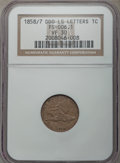 Flying Eagle Cents, 1858/7 1C Doubled Die Obverse, Large Letters, VF30 NGC. (FS-006.1). NGC Census: (13/156). PCGS Population: (11/156). Minta...