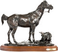 Fine Art - Sculpture, American, Skip Glomb (American, 1935-1988). Smoky, 1979. Bronze withbrown patina. 13 inches (33.0 cm) high on a 1-1/2 inches (3.8...
