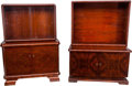 Furniture : Continental, Two German Art Deco Rosewood Glazed Bookcase Cabinets, circa 1930.66 h x 49 w x 20-1/2 d inches (167.6 x 124.5 x 52.1 cm) (...(Total: 8 Items)