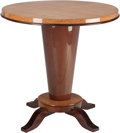 Furniture : Continental, A French Art Deco Lacquered Wood Side Table, circa 1930. 25-1/4inches high x 25-1/4 inches diameter (64.1 x 64.1 cm). PRO...