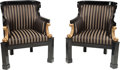 Furniture : Continental, A Pair of Viennese Neoclassical Ebonized and Giltwood Barrel-BackBergères, early 19th century. 36 h x 25 w x 26 d inches (9...(Total: 2 Items)