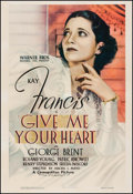 "Movie Posters:Romance, Give Me Your Heart (Warner Brothers, 1936). One Sheet (27.25"" X40""). Romance.. ..."