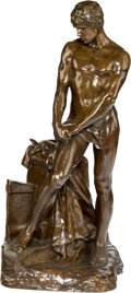 Sculpture, After Raoul François Larche (French). Sinnierender Krieger. Bronze with brown patina. 24 inches (61.0 cm) high. Inscribe...
