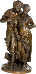 Fine Art - Sculpture, European, Luca Madrassi (Italian, 1848-1919). Jeune Couple. Bronze with brown patina. 29-1/2 inches (74.9 cm) high. Inscribed on b...
