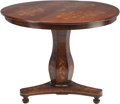 Furniture : Continental, A Dutch Walnut and Fruitwood Marquetry Center Table, 19th century.29-1/4 inches high x 36 inches diameter (74.3 x 91.4 cm)...