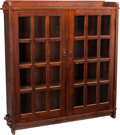 Furniture : American, An L & JG Stickley Oak Glazed Bookcase, early 20th century.54-3/4 h x 49 w x 12 d inches (139.1 x 124.5 x 30.5 cm). ...(Total: 2 Items)