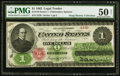 Large Size:Legal Tender Notes, Fr. 17d $1 1862 Legal Tender PMG About Uncirculated 50 Net.. ...