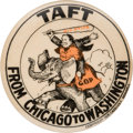 Political:Pinback Buttons (1896-present), William Howard Taft: A Wonderful 1908 Cartoon-Style Campaign Button....