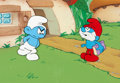 Animation Art:Production Cel, The Smurfs Papa Smurf and Grouchy Smurf Production Cel Setupwith Master Background (Hanna-Barbera, c. 1980s). ...