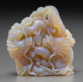 Asian:Chinese, A Chinese Opal Double-Dragon and Pearl Carving. 2-7/8 inches high x2-7/8 inches wide (7.3 x 7.3 cm). ...