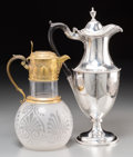 Silver Holloware, British:Holloware, A Charles Wright George III Silver Ewer with William & GeorgeSissons Victorian Gilt Silver Etched-Glass Ewer, London...