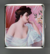 A German Silver and Enamel Erotic Cigarette Case, circa 1910 Marks: (crescent), (crown), 800, (logotype