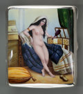 Silver Smalls:Cigarette Cases, An American Silver and Enamel Erotic Cigarette Case, circa 1910.Marks: STERLING. 3-5/8 inches high x 3-1/4 inches wide ...