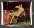 Silver Smalls:Cigarette Cases, A German Silver and Enamel Erotic Cigarette Case Depicting anOdalisque, circa 1900. Marks: (crown), 900. 3 inches high...