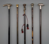 Five English and Continental Gadget Walking Sticks, late 19th century 35-3/4 inches (90.8 cm) (longest)  PRO
