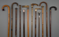 Twelve English and Continental Gadget Walking Sticks, late 19th century 36-1/2 inches (92.7 cm) (longest)  P