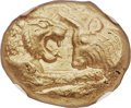 Ancients:Greek, Ancients: LYDIAN KINGDOM. Croesus (ca. 561-546 BC). AV stater(19mm, 10.76 gm). NGC MS ★ 5/5 - 4/5....
