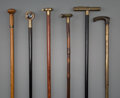 Decorative Arts, Continental:Other , Six English, French, and American Instrument Walking Sticks,19th-early 20th centuries. 35-1/2 inches high (90.2 cm) (averag...(Total: 6 Items)