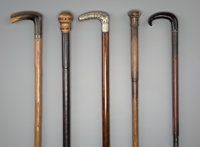 Five English and Continental Walking Sticks, early 20th century 36-1/2 inches (92.7 cm) (longest)  PROPERTY