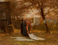 Fine Art - Painting, European:Antique  (Pre 1900), Bernardus Johannes Blommers (Dutch, 1845-1914). Wash Day,circa 1890. Oil on canvas laid on board. 14-1/2 x 18-1/2 inche...