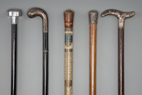 Five Lady's Walking Sticks, late 19th century 36-1/2 inches (92.7 cm) (longest)  PROPERTY FROM THE COLLECTIO
