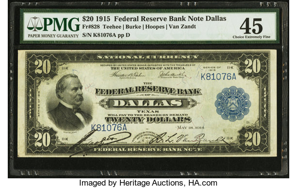 Fr  828 $20 1915 Federal Reserve Bank Note PMG Choice