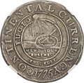 Colonials, 1776 $1 Continental Dollar, CURRENCY, Pewter, EG FECIT -- Obverse Scratched, Cleaned -- NGC Details. XF. Newman 3-D, W-8460, ...