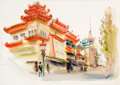 "Animation Art:Production Drawing, Retta Scott ""Chinatown"" Painting (c. 1950s-60s). ..."