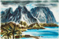 "Animation Art:Production Drawing, Retta Scott ""Hawaiian Scene"" Painting (c. 1950s-60s). ..."